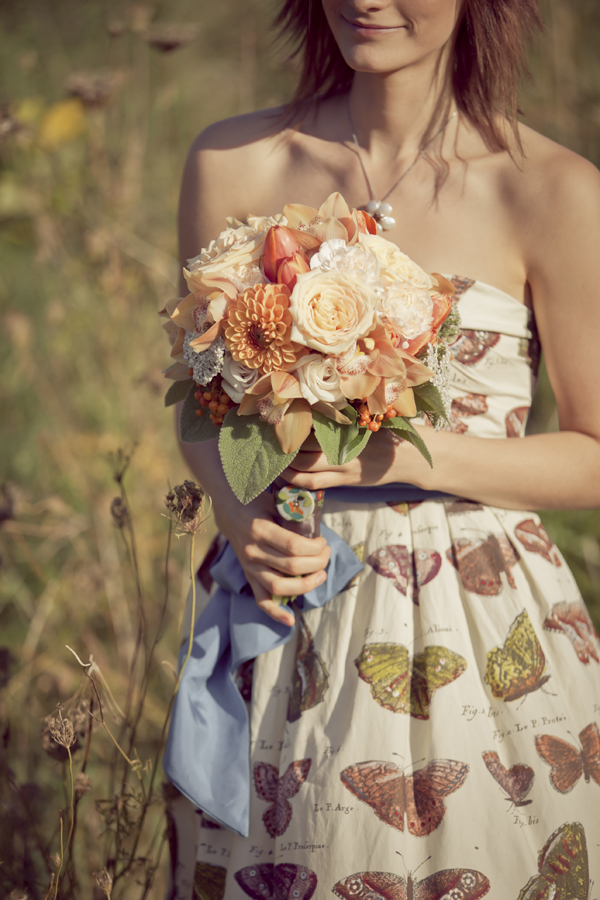 Orange and Modern Vintage Bridal Bouquet 3 - Made with Love