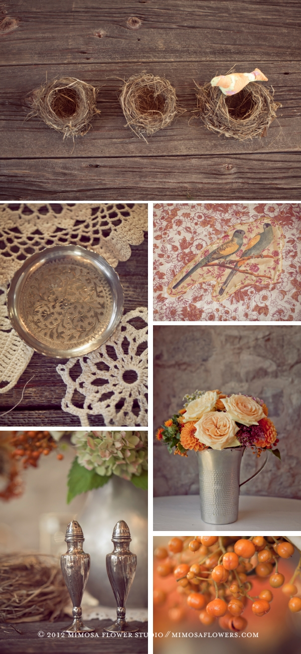 Made with Love - modern vintage details such as bird's nest, lace, pewter, salt shaker