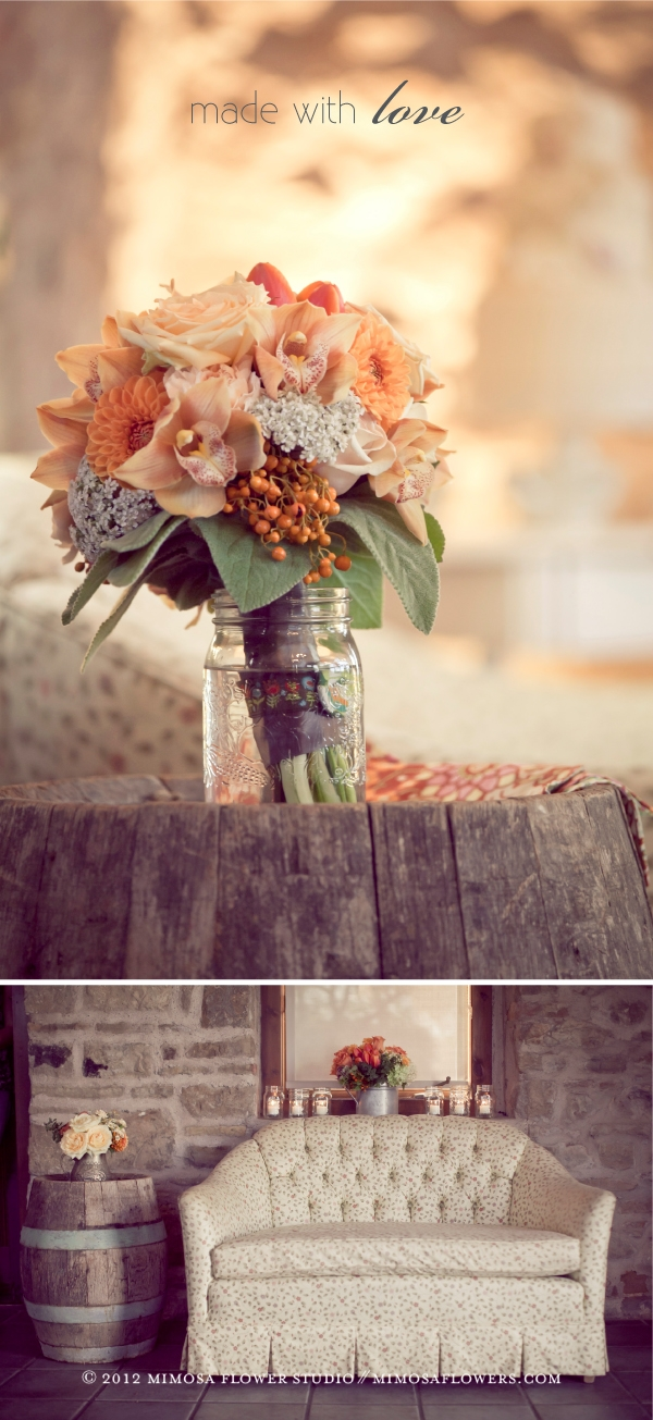 Orange and peach modern vintage bride's bouquet and sitting lounge at The Carriage House
