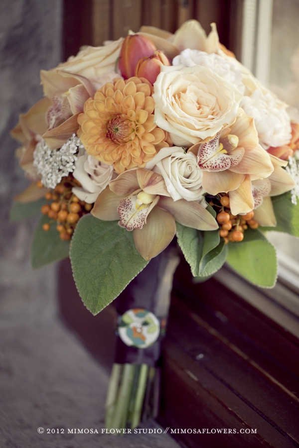 Orange and Modern Vintage Bridal Bouquet 2 - Made with Love