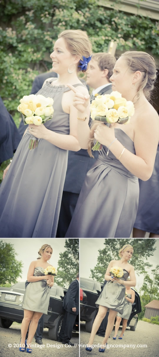 Niagara Wedding Florist // Bridesmaid in Pewter with Yellow Flowers