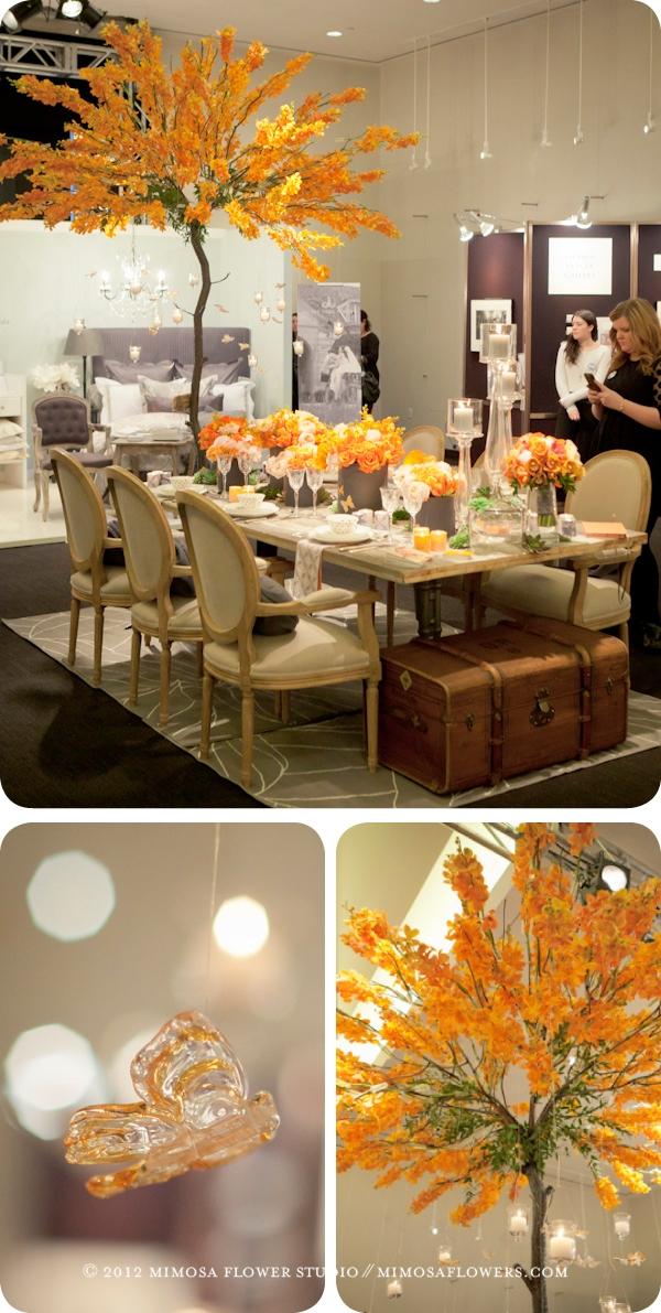 Mimosa Flower Studio - Custom Metal Tree covered in Orange Mokara Orchids at The Carlu