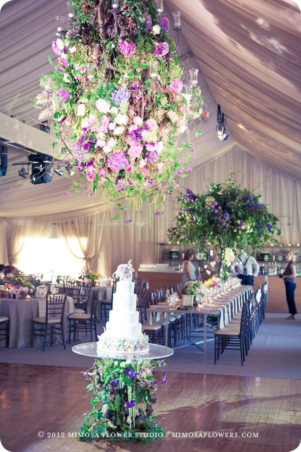 Floral chandelier in tented wedding at Blue Mountain private residence - 2