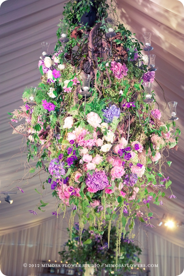 Floral chandelier in tented wedding at Blue Mountain private residence