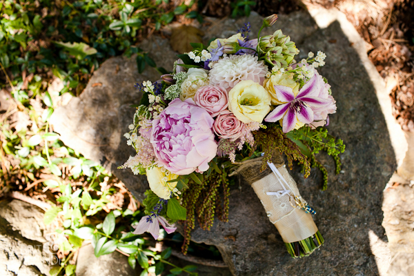 Rings tied into modern vintage bride's bouquet