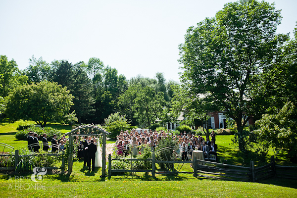 Outdoor wedding ceremony on farm