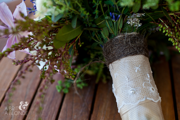 Bride's bouquet with jute and burlap and lace on stem
