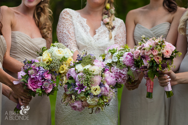 Bridesmaid's showing their individual bouquets