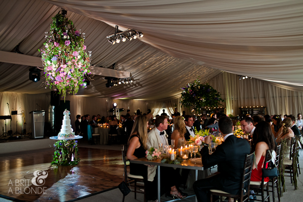 giant floral hanging lantern at wedding reception
