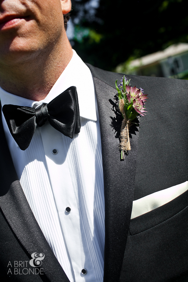 Groom's boutonniere with jute