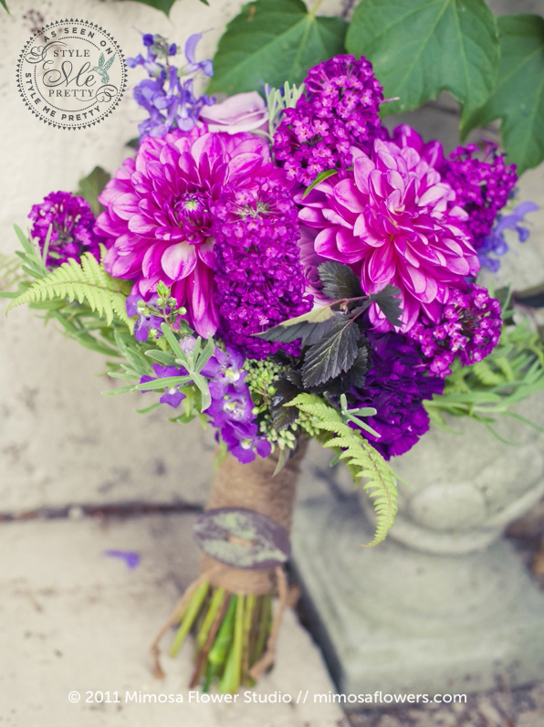 Purple Bride's Bouquet with Dahlias