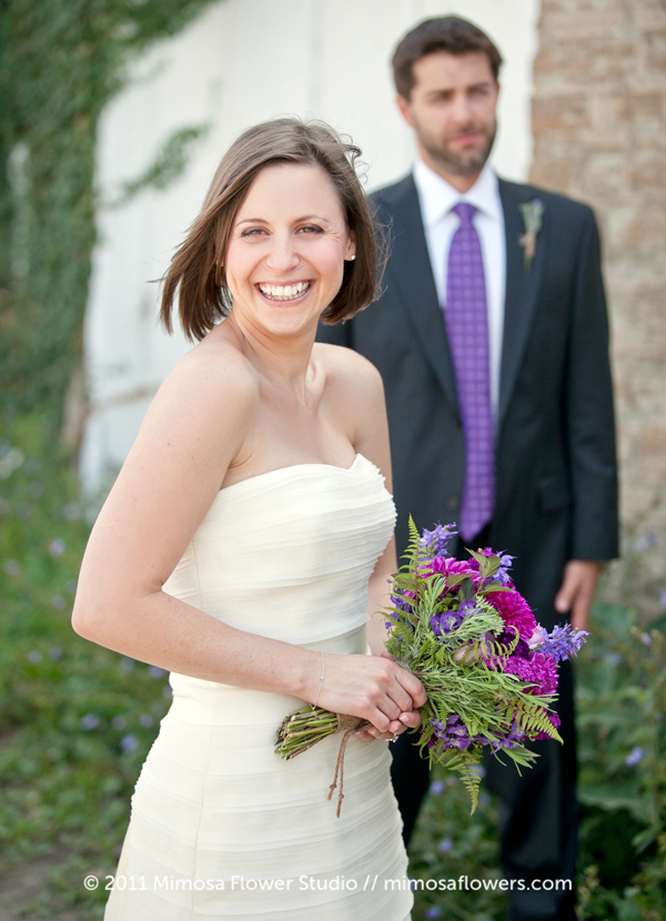 Purple Bride's Bouquet at Vineyard Wedding Ceremony