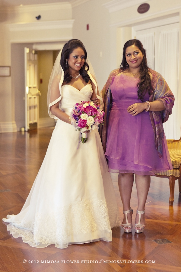 Purple and Pink Bride's Bouquet with wedding ceremony at Queen's Landing