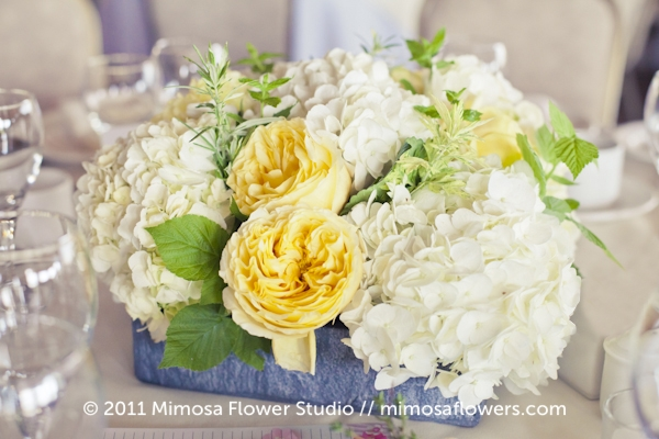 Wedding Reception flowers in white, yellow and slate