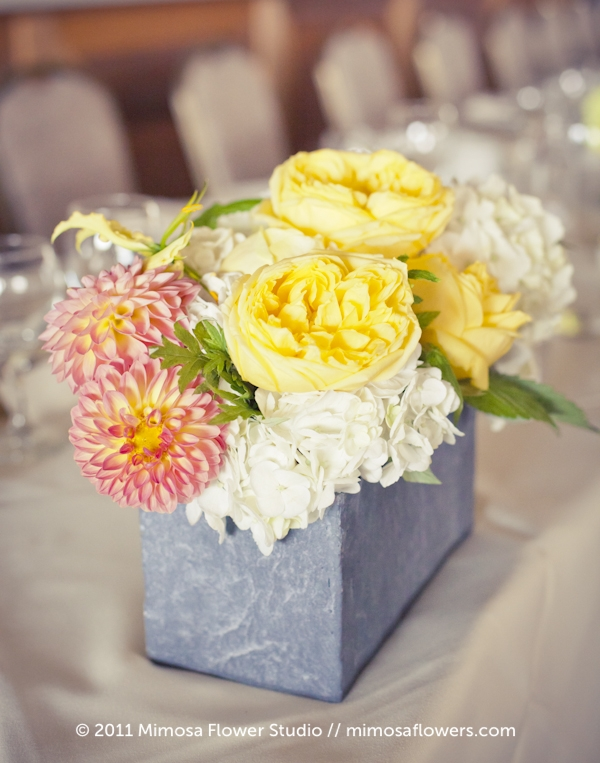 Yellow, White and Slate Wedding Reception Centrepiece Flowers 3