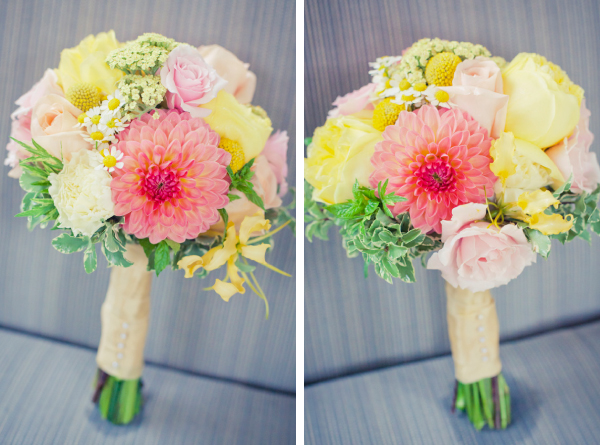 Yellow, Salmon, Peach Bridesmaid's Bouquets
