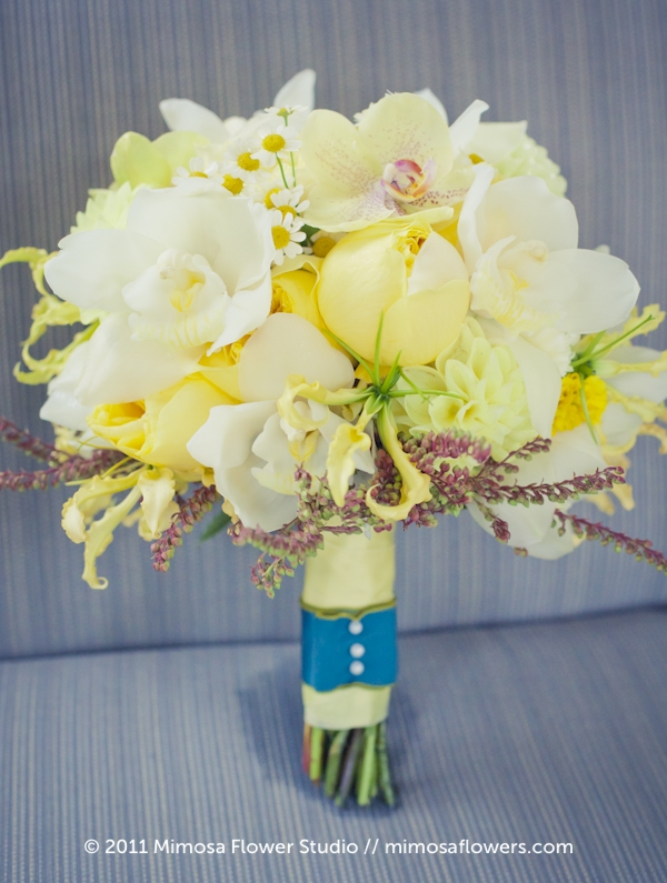 Yellow and Teal Bridal Bouquet / Bride's Bouquet