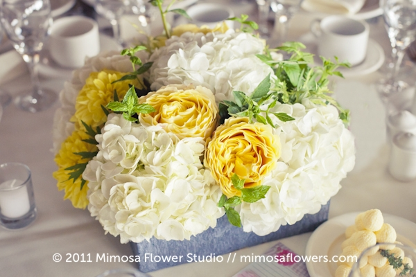 Yellow, White and Slate Wedding Reception Centrepiece Flowers 1