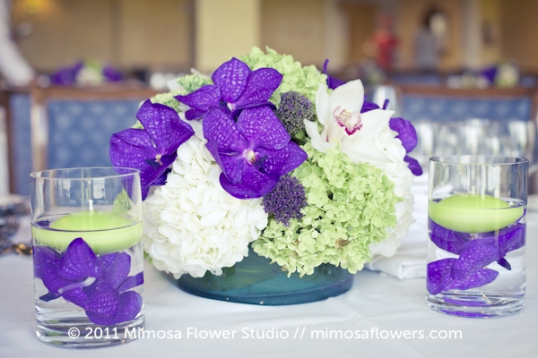 Purple and Green Wedding Reception Centrepiece at Inn on the Twenty