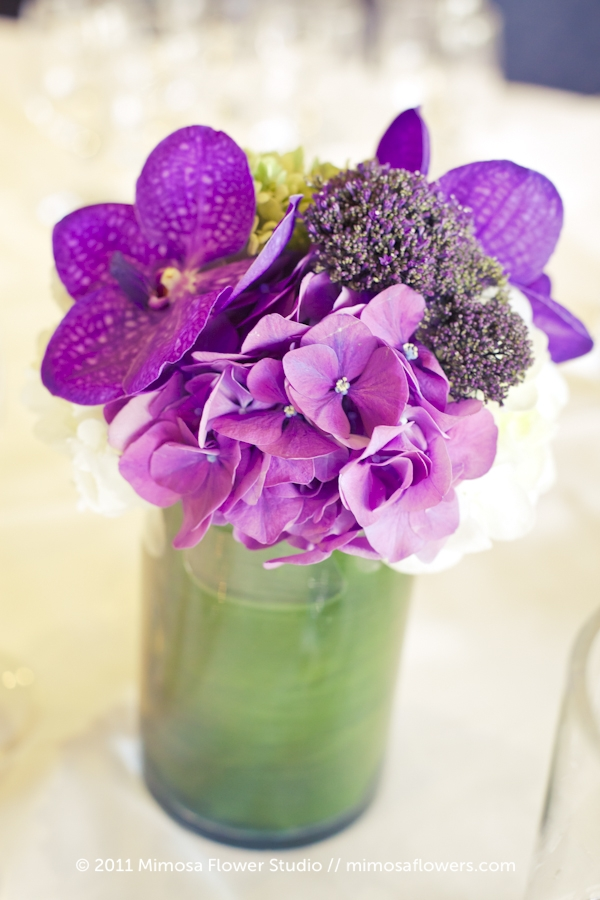 Purple and Green Wedding Reception Centrepiece at Inn on the Twenty 3