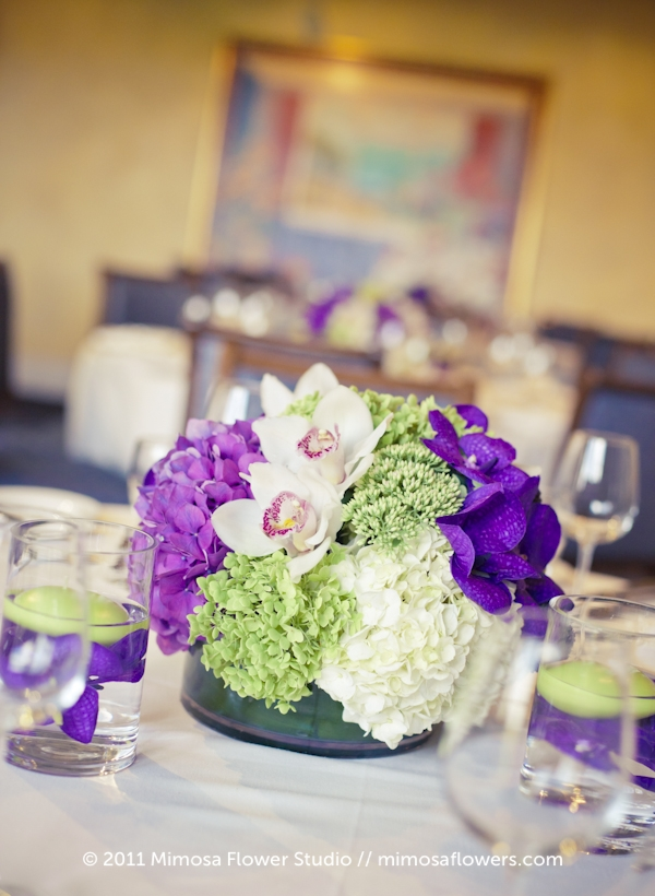 Purple and Green Wedding Reception Centrepiece at Inn on the Twenty 2