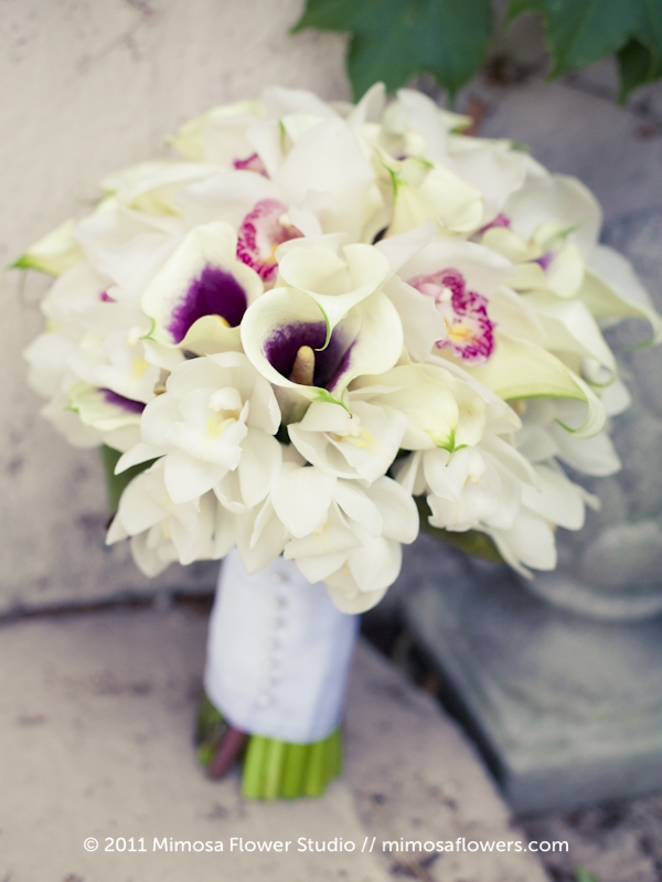 White + Purple Calla Lilly Bride's Bouquet