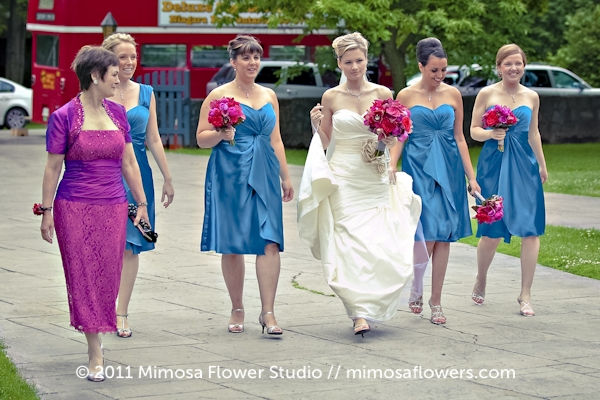 Red and Pink  Flowers with Peacock Blue Bridesmaids Dresses