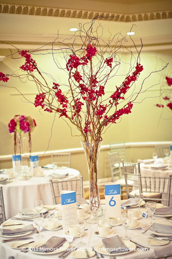 Queen's Landing Wedding Reception Flowers Curly Willow Orchids