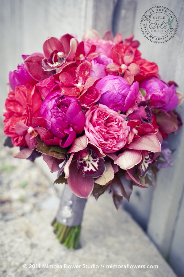 Pink Red Fuchsia Bridal Bouquet