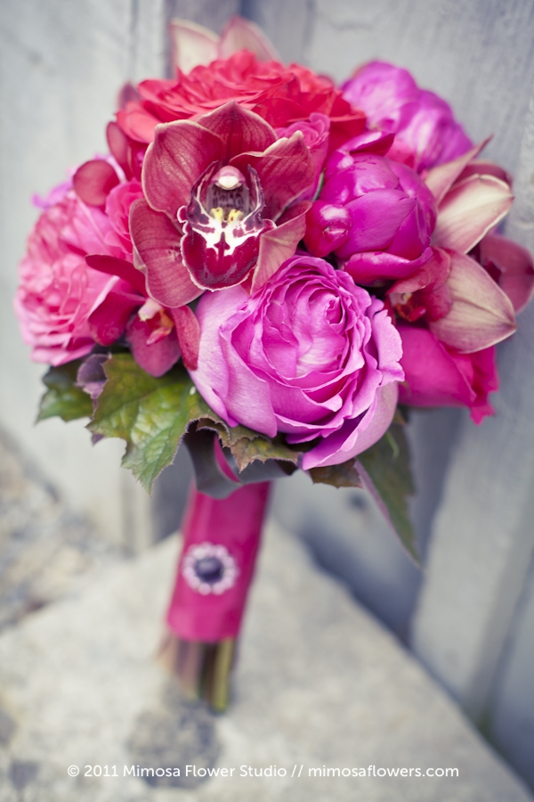Pink Red Fuchsia Bridesmaid's Bouquet