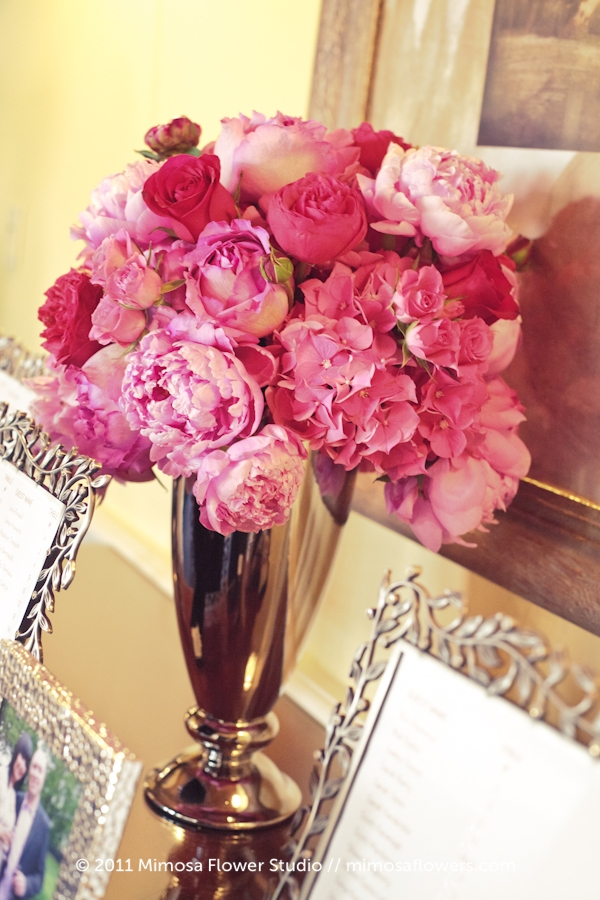 Inn on the Twenty Silver Vase Pink Red Wedding Flowers