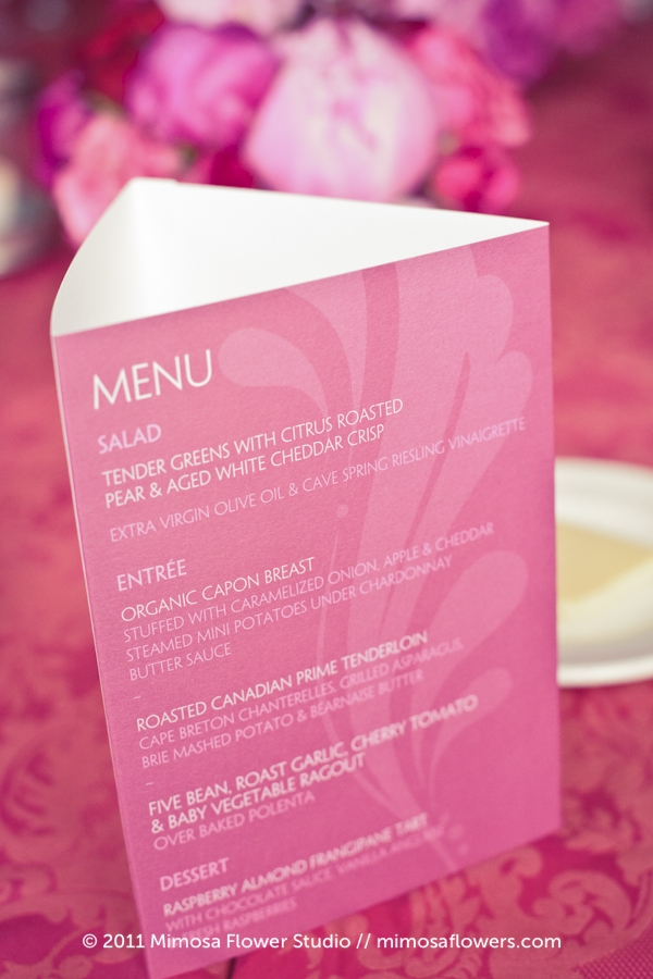 Inn on the Twenty Pink Wedding Reception Menu