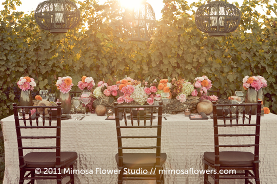 Wedding Tablescape in the Winery Vineyard
