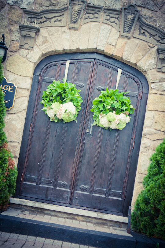 Wreath on Winery Door Wedding Ceremony