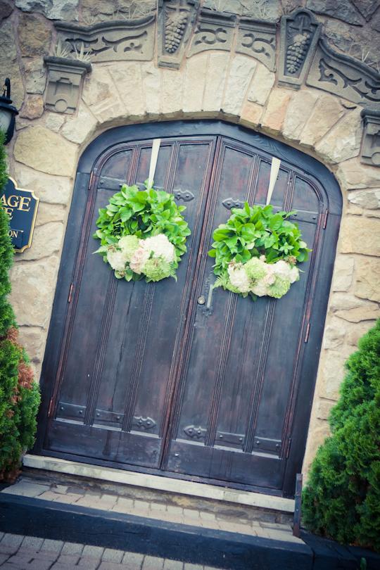 Wreath on Winery Door Wedding Ceremony